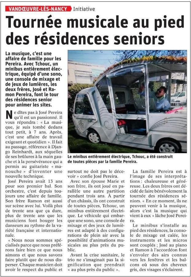 Article de l'Est Républicain du 20 avril 2020: Tournée musicale au pied des résidences séniors