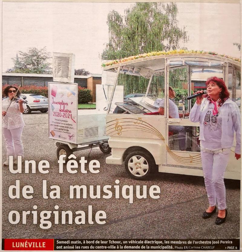 Article de l'Est Républicain du 20 avril 2020 - Une fête de la musique originale à Lunéville
