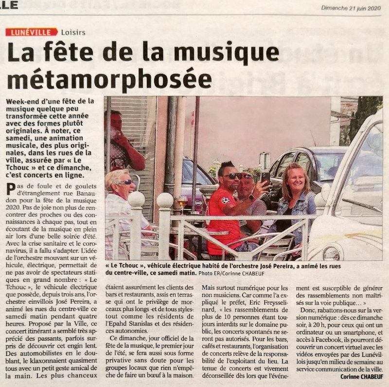 Article de l'Est Républicain du 21 juin 2020 - La fête de la musique métamorphosée à Lunéville